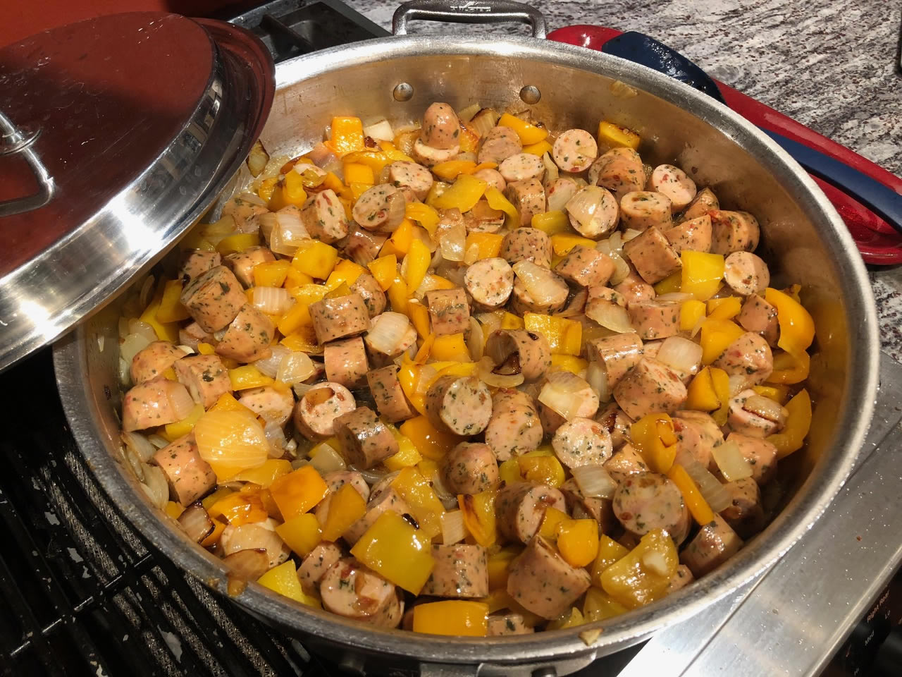 Sausage in a pan with peppers | AnnaMaria's