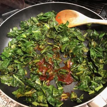 Collard greens fixed in a pan | AnnaMaria's
