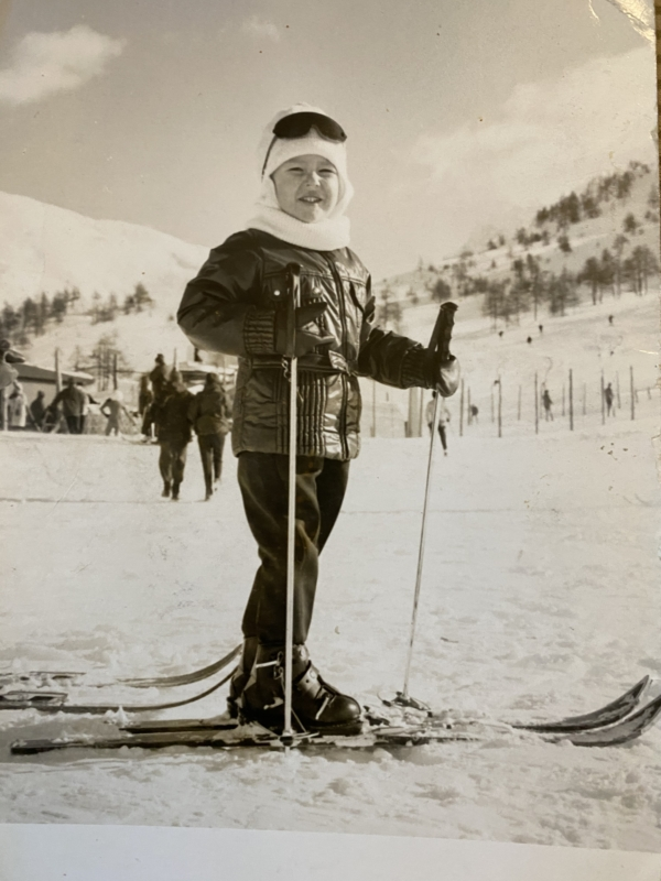 Author Dominique Debroux skiing as a child in Sestriere | Anna Maria's Foods