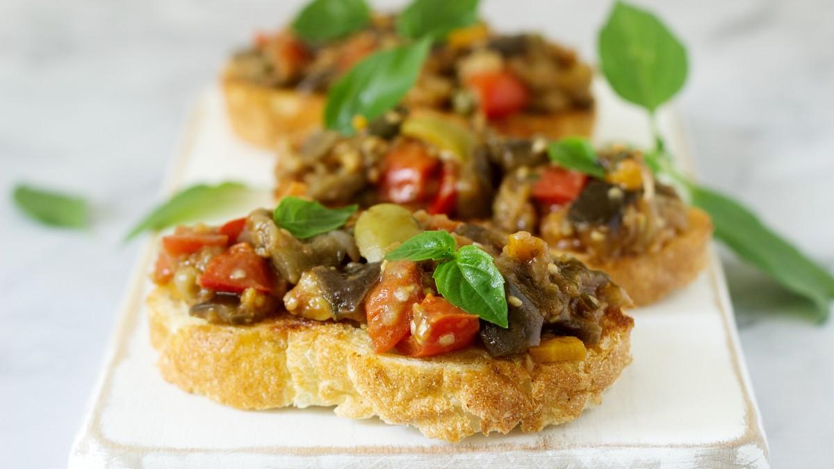 Caponata bruschetta on French bread | AnnaMaria's